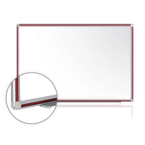 "Ghent 12"" x 48"" DecoAurora Aluminum Frame Porcelain Magnetic Whiteboard - Cherry Trim"
