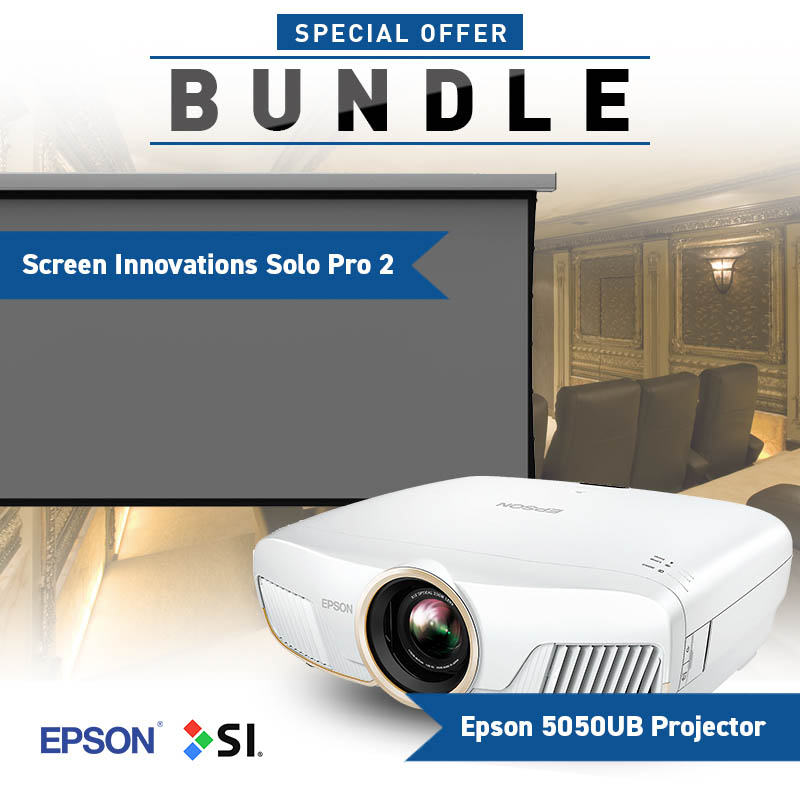Screen Innovations Solo 2 Projector Screen with Slate 1 2 Surface & Epson  5050UB 4K Projector Bundle