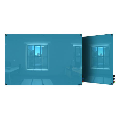 Ghent Ghent HMYSM34BE 3'x4' Harmony Magnetic Glass Board- Square Corners-Blue-4 Magnets, 4 Markers,Eraser
