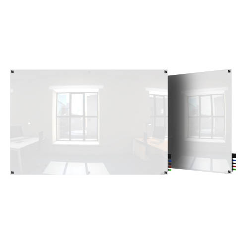 Ghent Ghent HMYSM34WH 3'x4' Harmony Magnetic Glass Board- Square Corners-White-4 Magnets, 4 Markers,Eraser