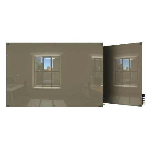 Ghent Ghent HMYSN34GY 3'x4' Harmony Glass Board- Square Corners - Gray - 4 Markers and Eraser