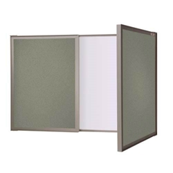 Ghent VisuALL PC - Gray Fabric Tackboard Outside with Acrylate Whiteboard Inside