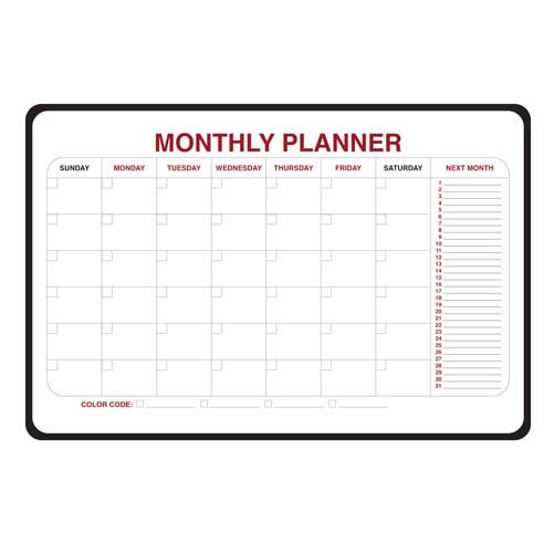 "Ghent 36"" x 24"" Monthly Dry Erase Planner - Radius Corners and Black Vinyl Frame"