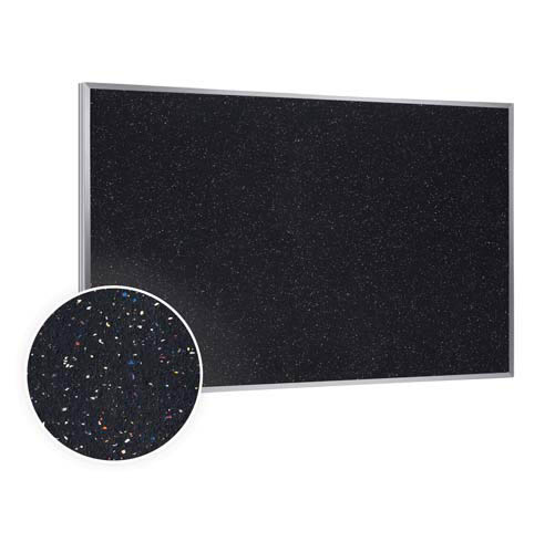"Ghent 60.5"" x 48.5"" Aluminum Frame Recycled Rubber Tackboard - Confetti"