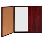 Conference Cabinet - Porcelain Magnetic Whiteboard w/Cork on Interior of Doors - Mahogany Ghent,C144M,C1 44M,C144M,C1-44M,C1 44M,C144M,C1-44M