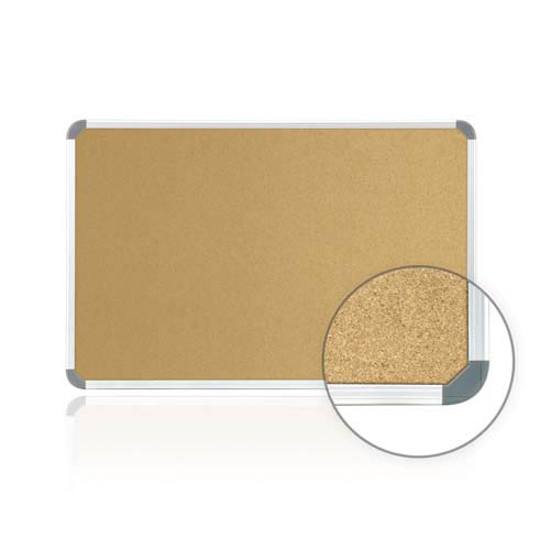 "Ghent 36"" x 24"" Aluminum Radial Edge Euro-Style Frame Natural Cork Tackboard"