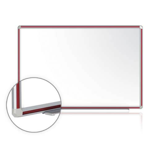 "Ghent 144"" x 48"" DecoAurora Aluminum Frame Porcelain Magnetic Whiteboard - Cherry Trim"