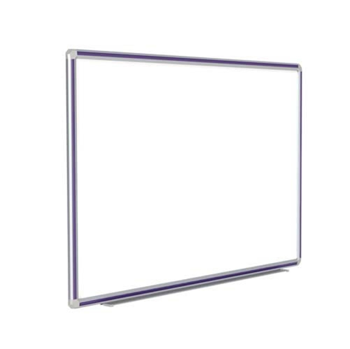 "Ghent 72"" x 48"" DecoAurora Aluminum Frame Porcelain Magnetic Whiteboard - Purple Trim"