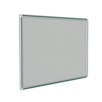 "120"" x 48"" DecoAurora Aluminum Frame Gray Vinyl Tackboard - Hunter Green Trim"