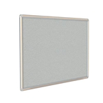 "Ghent 12"" x 48"" DecoAurora Aluminum Frame Gray Vinyl Tackboard - Light Maple Trim"