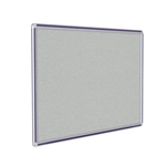 "120"" x 48"" DecoAurora Aluminum Frame Gray Vinyl Tackboard - Purple Trim"
