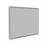 "120"" x 48"" DecoAurora Aluminum Frame Gray Vinyl Tackboard - Red Trim"
