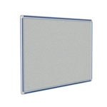 "Ghent 12"" x 48"" DecoAurora Aluminum Frame Gray Vinyl Tackboard - Royal Blue Trim"