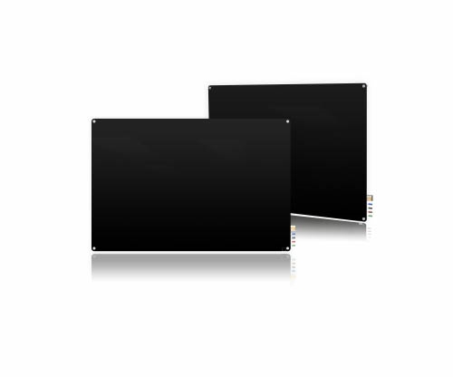 Ghent Ghent HMYRM23BK 2'x3' Harmony Magnetic Glass Board- Radius Corners-Black-4 Magnets, 4 Markers,Eraser