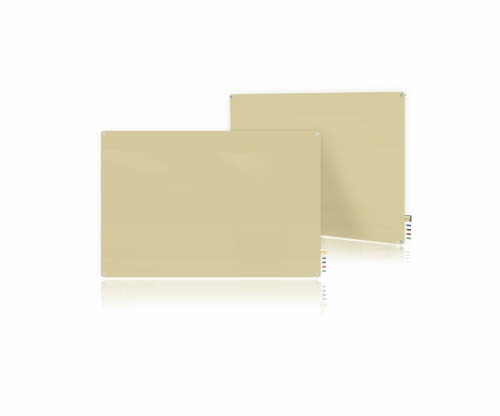 Ghent Ghent HMYRM44BG 4'x4' Harmony Magnetic Glass Board- Radius Corners-Beige-4 Magnets, 4 Markers,Eraser