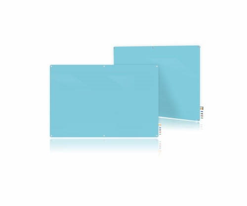 Ghent Ghent HMYRM48BE 4'x8' Harmony Magnetic Glass Board- Radius Corners-Blue-4 Magnets, 4 Markers,Eraser