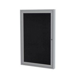 "Ghent 18"" x 24"" 1-Door Satin Aluminum Frame Enclosed Recycled Rubber Tackboard - Black"