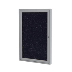 "Ghent 18"" x 24"" 1-Door Satin Aluminum Frame Enclosed Recycled Rubber Tackboard - Confetti"