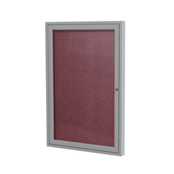 "Ghent 18"" x 24"" 1-Door Satin Aluminum Frame Enclosed Vinyl Tackboard - Berry"