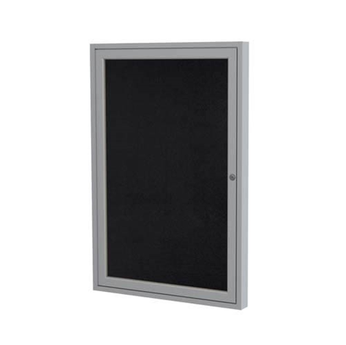 "Ghent 24"" x 36"" 1-Door Satin Aluminum Frame Enclosed Recycled Rubber Tackboard - Black"