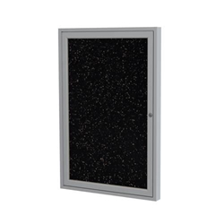 "Ghent 24"" x 36"" 1-Door Satin Aluminum Frame Enclosed Recycled Rubber Tackboard - Tan Speckled"