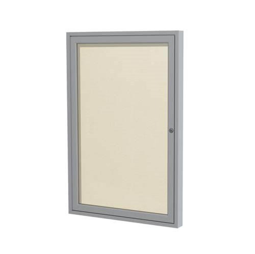 "Ghent 3"" x 36"" 1-Door Satin Aluminum Frame Enclosed Vinyl Tackboard - Ivory"
