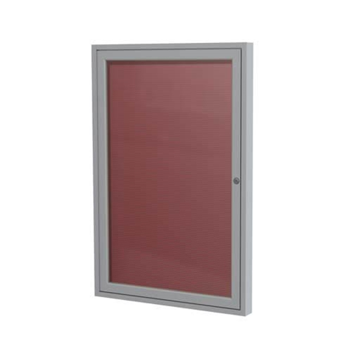 "Ghent 36"" x 36"" 1-Door Satin Aluminum Frame Enclosed Vinyl Letterboard - Burgundy"