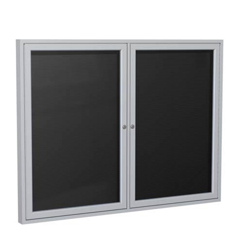 "Ghent 6"" x 36"" 2-Door Satin Aluminum Frame Enclosed Flannel Letterboard - Black"