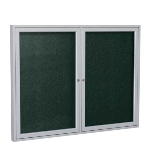 "Ghent 6"" x 36"" 2-Door Satin Aluminum Frame Enclosed Vinyl Tackboard - Ebony"