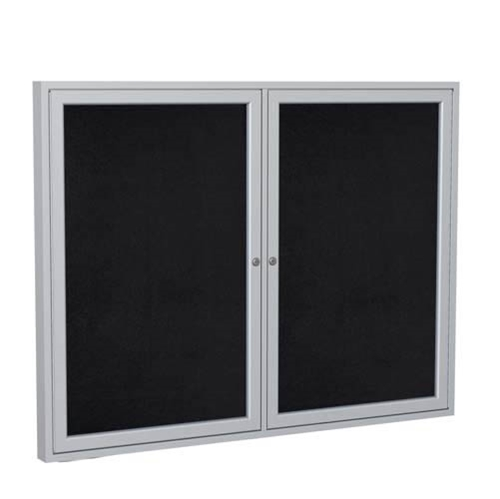 "Ghent 6"" x 48"" 2-Door Satin Aluminum Frame Enclosed Recycled Rubber Tackboard - Black"