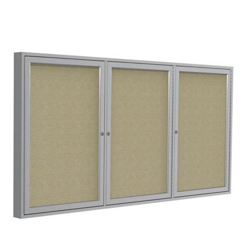 "Ghent 96"" x 48"" 3-Door Satin Aluminum Frame Enclosed Fabric Tackboard - Beige"