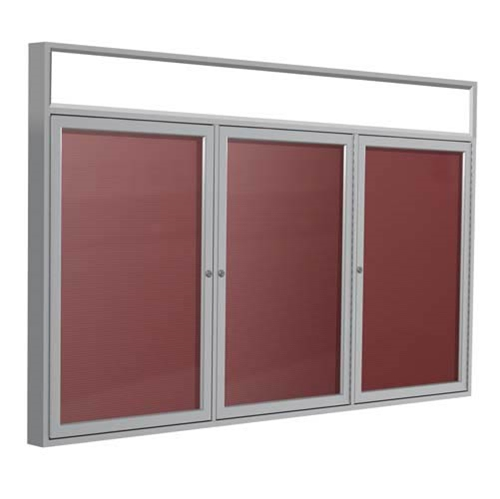"Ghent 72"" x 48"" 3-Door Satin Alum Frame w/ Headliner Enclosed Flannel Letterboard - Burgundy"