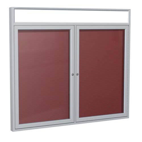 "Ghent 6"" x 36"" 2-Door Satin Alum Frame w/Illuminated Headliner Enclosed Vinyl Letterboard - Burgundy"