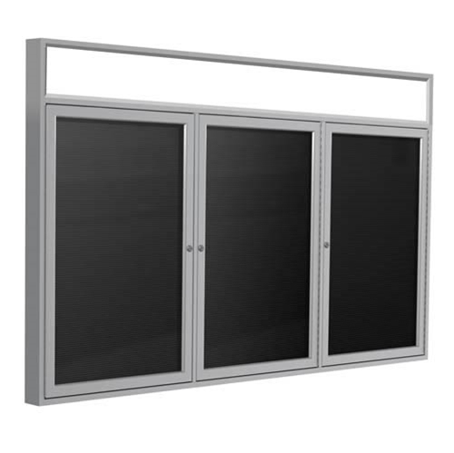 "Ghent 72"" x 48"" 3-Door Satin Alum Frame w/Illuminated Headliner Enclosed Vinyl Letterboard - Black"