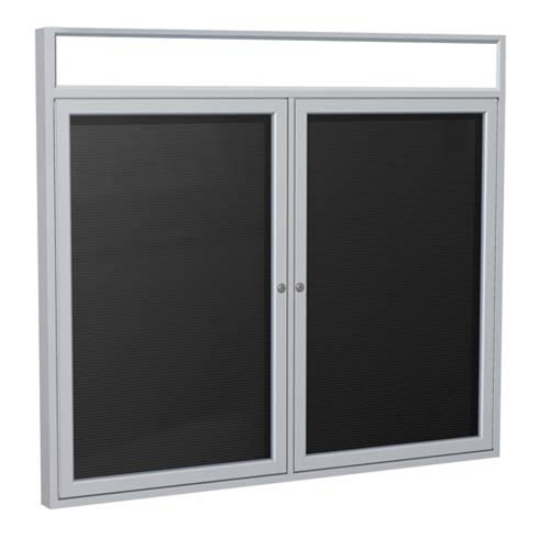 "Ghent 6"" x 36"" 2-Door Satin Alum Frame w/ Headliner Enclosed Vinyl Letterboard - Black"