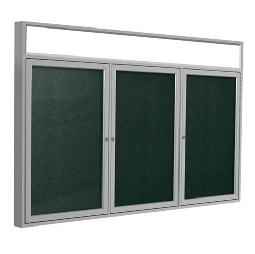 "Ghent 96"" x 48"" 3-Door Satin Alum Frame w/Illuminated Headliner Enclsd Vinyl Tackboard - Ebony"