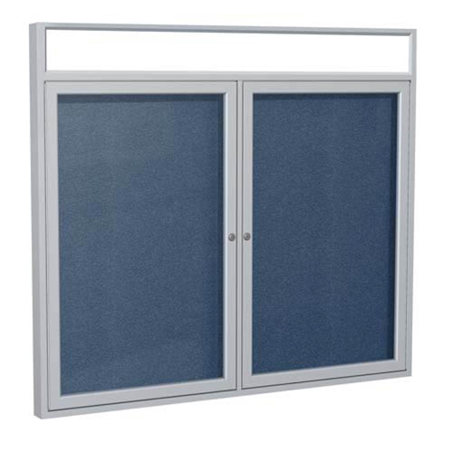 "Ghent 6"" x 36"" 2-Door Satin Alum Frame w/Illuminated Headliner Enclsd Vinyl Tackboard - Navy"