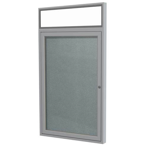 "Ghent 36"" x 36"" 1-Door Satin Alum Frame w/ Headliner Enclosed Vinyl Tackboard - Stone"