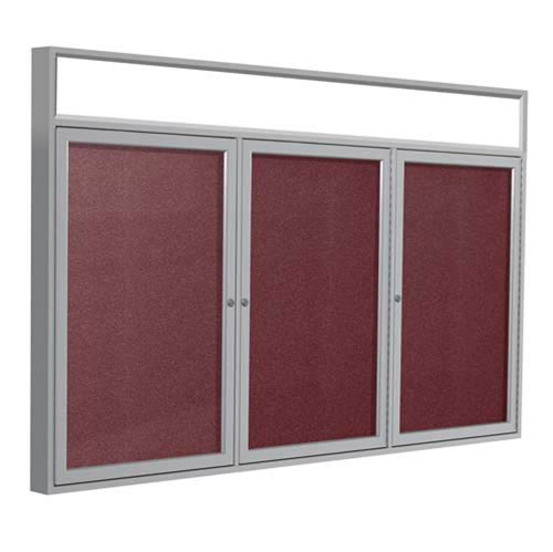 "Ghent 72"" x 36"" 3-Door Satin Alum Frame w/ Headliner Enclosed Vinyl Tackboard - Berry"