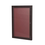 "Ghent 18"" x 24"" 1-Door Bronze Aluminum Frame Enclosed Flannel Letterboard - Burgundy"