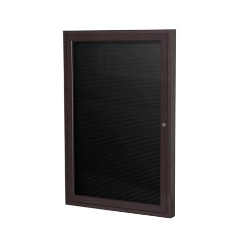 "Ghent 18"" x 24"" 1-Door Bronze Aluminum Frame Enclosed Flannel Letterboard - Black"