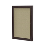 "Ghent 18"" x 24"" 1-Door Bronze Aluminum Frame Enclosed Fabric Tackboard - Beige"