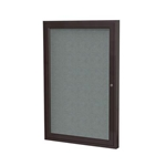 "Ghent 18"" x 24"" 1-Door Bronze Aluminum Frame Enclosed Fabric Tackboard - Gray"