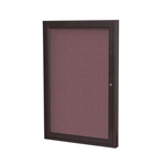 "Ghent 18"" x 24"" 1-Door Bronze Aluminum Frame Enclosed Fabric Tackboard - Merlot"