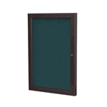 "Ghent 18"" x 24"" 1-Door Bronze Aluminum Frame Enclosed Fabric Tackboard - Blue"