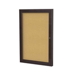 "Ghent 18"" x 24"" 1-Door Bronze Aluminum Frame Enclosed Tackboard - Natural Cork"