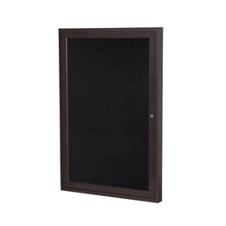 "Ghent 18"" x 24"" 1-Door Bronze Aluminum Frame Enclosed Recycled Rubber Tackboard - Black"