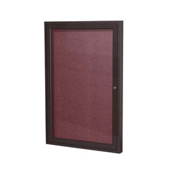 "Ghent 18"" x 24"" 1-Door Bronze Aluminum Frame Enclosed Vinyl Tackboard - Berry"