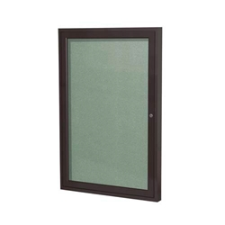 "Ghent 18"" x 24"" 1-Door Bronze Aluminum Frame Enclosed Vinyl Tackboard - Mint"