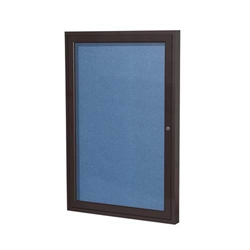 "Ghent 18"" x 24"" 1-Door Bronze Aluminum Frame Enclosed Vinyl Tackboard - Ocean"